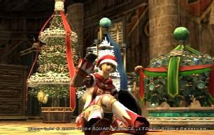 サンタ帽とクリスマスツリーでごきげんなNazunaさん(白60)
